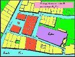 Plan du quartier des Cantoussès. Les parties en rouge sont des maisons qui ont été démolies